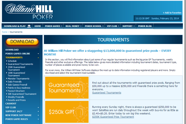 William Hill Poker screen shot